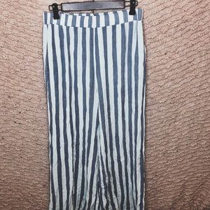 BLUE AND WHITE PINSTRIPE BEACH FLARE PANTS